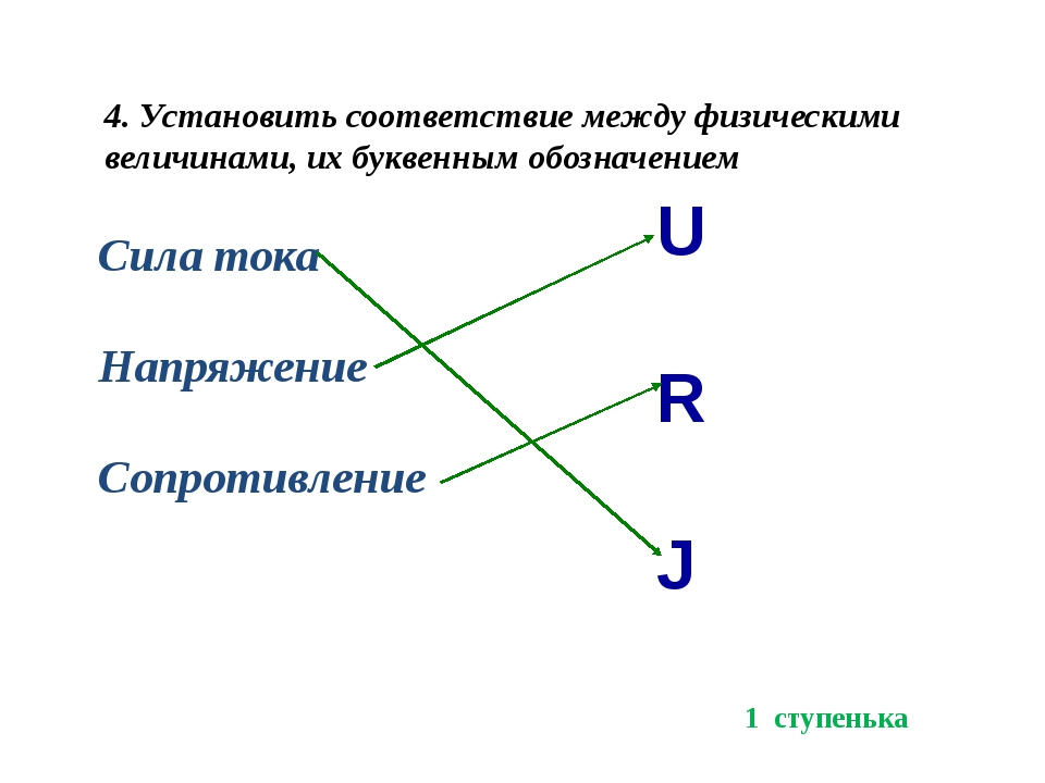 4. Установить соответствие между физическими величинами, их буквенным обознач...