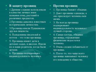 В защиту прозвищ 1.Древние славяне использовали в качестве личных имен назван