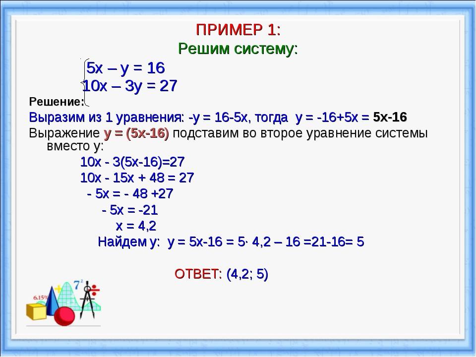 ПРИМЕР 1: Решим систему: 5х – у = 16 10х – 3у = 27 Решение: Выразим из 1 ура...