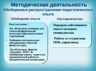 Обобщение опыта Выступление : На областном семинаре для учителей физической к