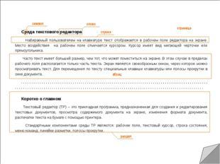 Среда текстового редактора Набираемый пользователем на клавиатуре текст отоб