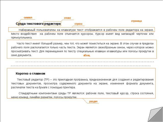 Среда текстового редактора Набираемый пользователем на клавиатуре текст отоб...