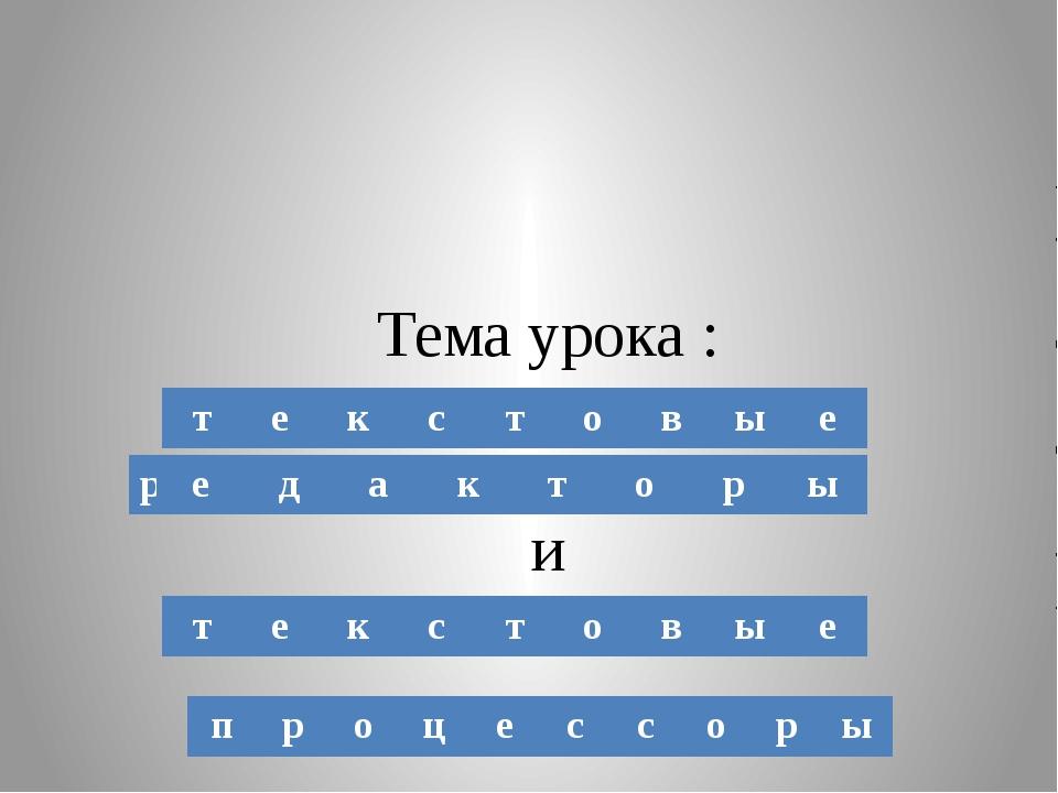 Тема урока : и т е к с т о в ы е т е к с т о в ы е п р о ц е с с о р ы р е д...