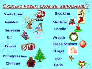 Сколько новых слов вы запомнили? Santa Claus Reindeer Elf Snowman Present Mis