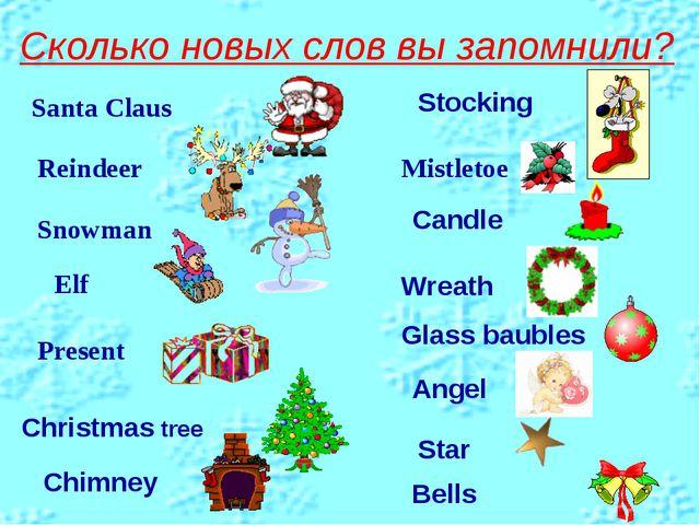 Сколько новых слов вы запомнили? Santa Claus Reindeer Elf Snowman Present Mis...