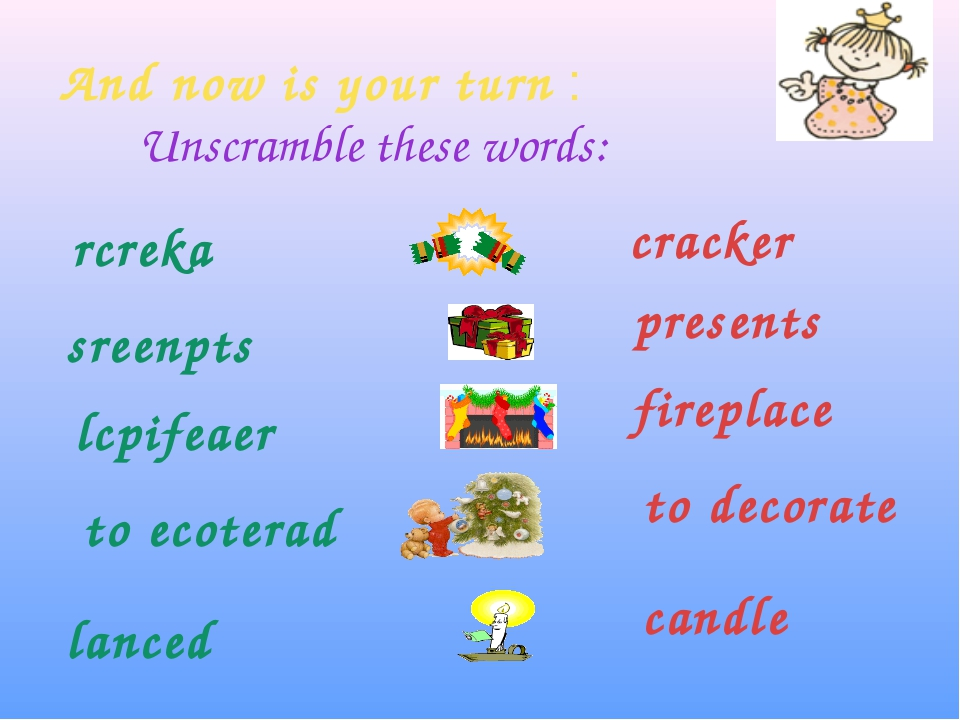 And now is your turn : Unscramble these words: rcreka sreenpts lcpifeaer to e...