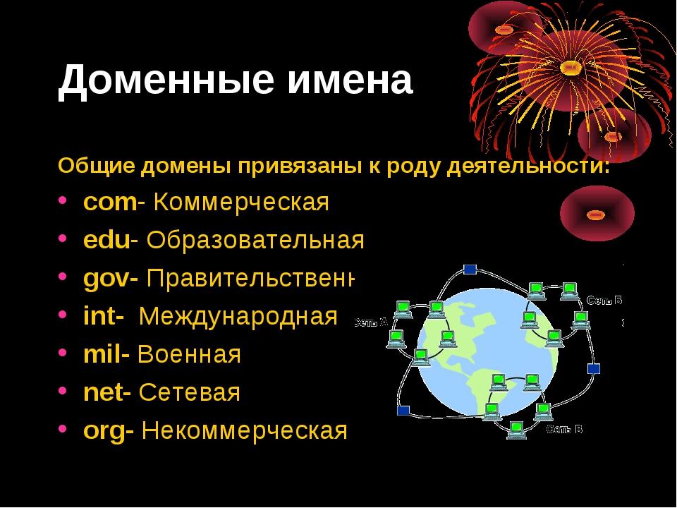 Доменные имена Общие домены привязаны к роду деятельности: com- Коммерческая...