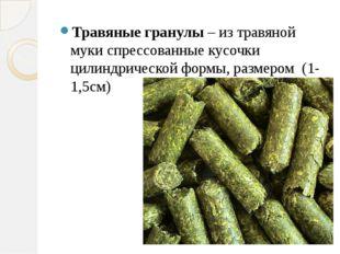 Травяные гранулы – из травяной муки спрессованные кусочки цилиндрической фор