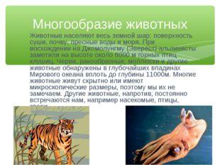 Животные населяют весь земной шар: поверхность суши, почву, пресные воды и мо