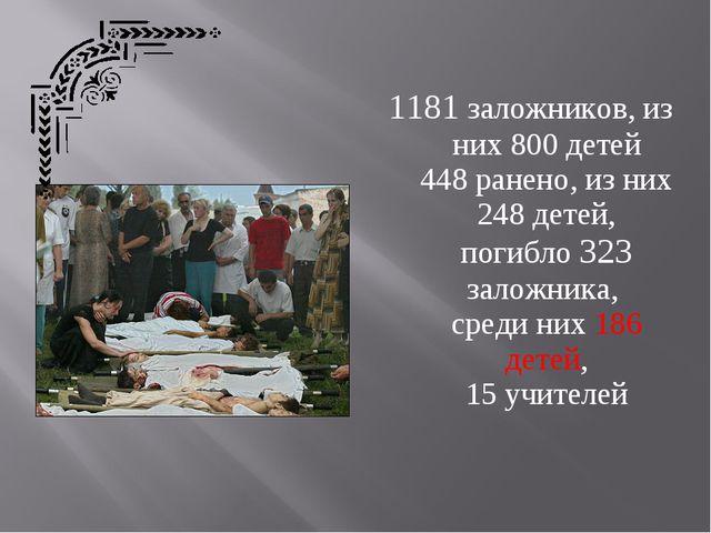 1181 заложников, из них 800 детей 448 ранено, из них 248 детей, погибло 323 з...
