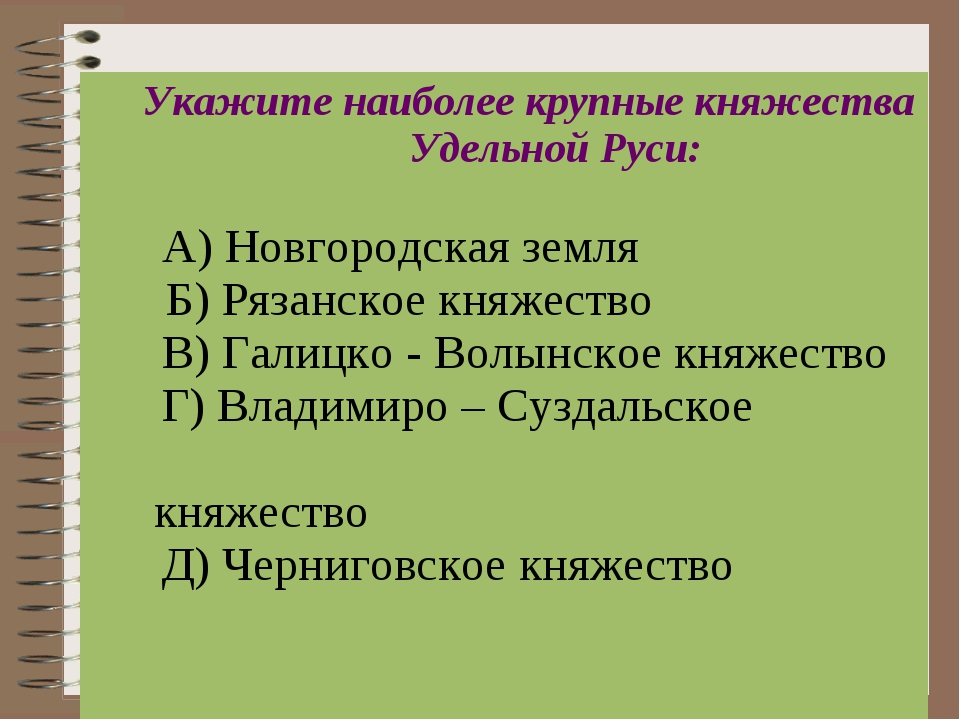 Укажите наиболее крупные княжества Удельной Руси: А) Новгородская земля  Б)...