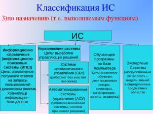 Классификация ИС 3)по назначению (т.е. выполняемым функциям) ИС Информационно