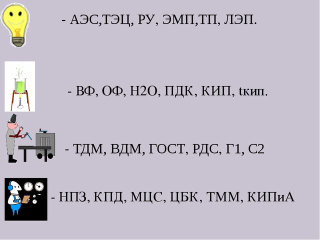 - АЭС,ТЭЦ, РУ, ЭМП,ТП, ЛЭП. - ТДМ, ВДМ, ГОСТ, РДС, Г1, С2 - ВФ, ОФ, Н2О, ПДК...
