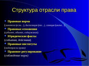 Структура отрасли права Правовая норма (гипотеза (если…),диспозиция (то…), с