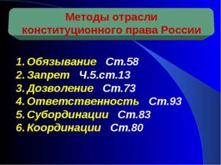 Методы отрасли конституционного права России Обязывание Ст.58 Запрет Ч.5.ст.1