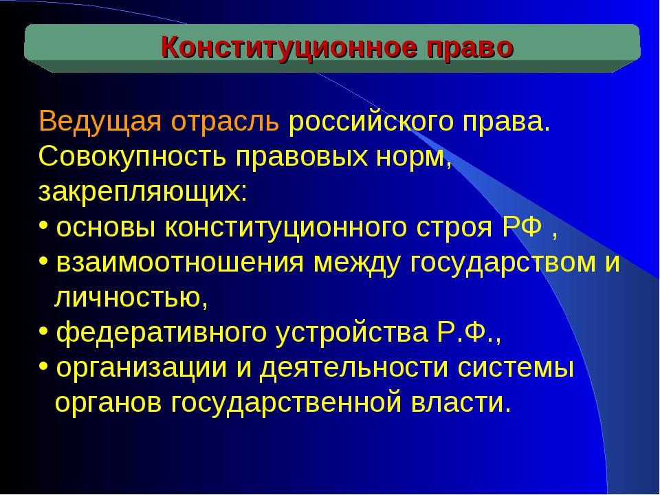 Ведущая отрасль российского права. Совокупность правовых норм, закрепляющих:...