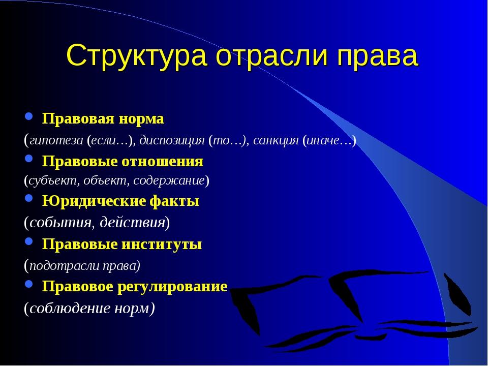 Структура отрасли права Правовая норма (гипотеза (если…),диспозиция (то…), с...