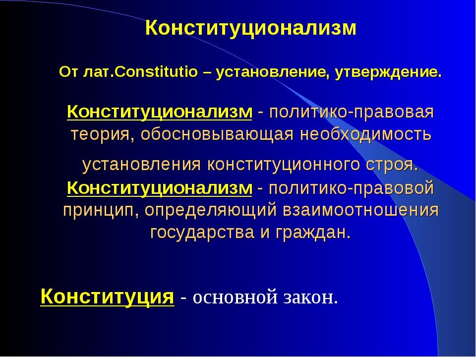 Конституционализм От лат.Constitutio – установление, утверждение. Конституцио...
