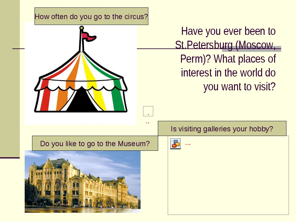 Have you ever been to St.Petersburg (Moscow, Perm)? What places of interest i...
