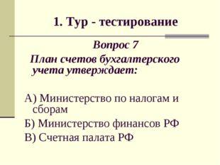 1. Тур - тестирование Вопрос 7 План счетов бухгалтерского учета утверждает: А