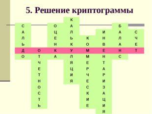 5. Решение криптограммы К СОАБ АЦЛИАС ЛЕЬКНЛЧ ЬНКО