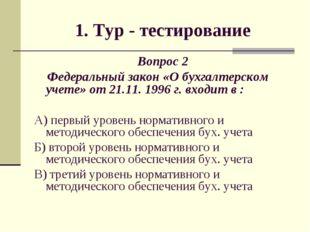 1. Тур - тестирование Вопрос 2 Федеральный закон «О бухгалтерском учете» от 2