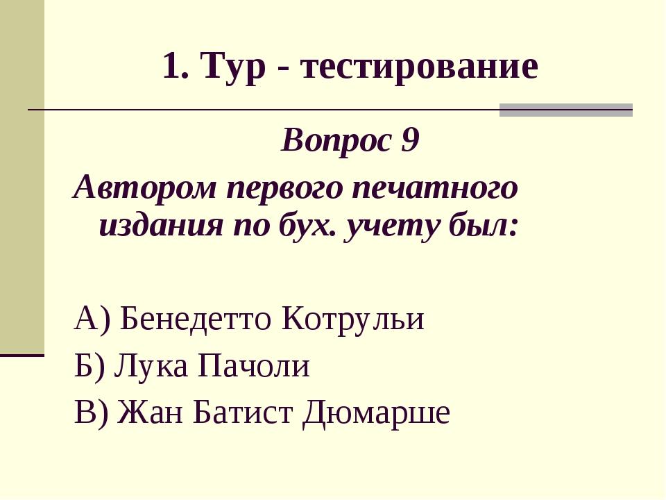 1. Тур - тестирование Вопрос 9 Автором первого печатного издания по бух. учет...