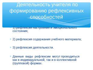 1) рефлексия настроения и эмоционального состояния; 2) рефлексия содержания у