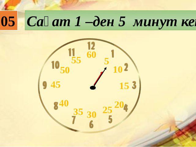 01:05 Сағат 1 –ден 5 минут кетті 5 10 15 20 25 45 50 55 60 30 35 40
