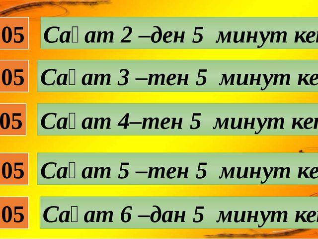 02:05 Сағат 2 –ден 5 минут кетті 04:05 03:05 05:05 06:05 Сағат 3 –тен 5 минут...