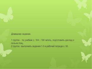 Домашнее задание.  1 группа - по учебник с. 104 – 109 читать, подготовить до