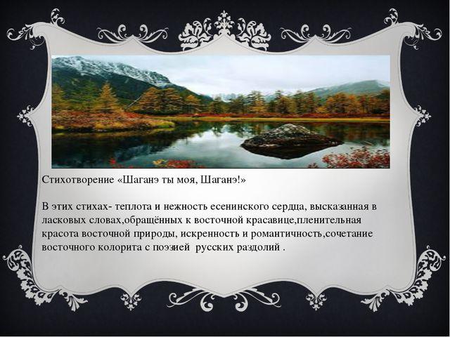 Стихотворение «Шаганэ ты моя, Шаганэ!» В этих стихах- теплота и нежность есе...