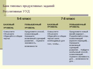 Банк типовых продуктивных заданий Регулятивные УУД 5-6 класс 7-8 класс  БАЗ