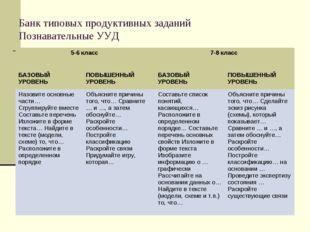 Банк типовых продуктивных заданий Познавательные УУД 5-6 класс 7-8 класс  Б