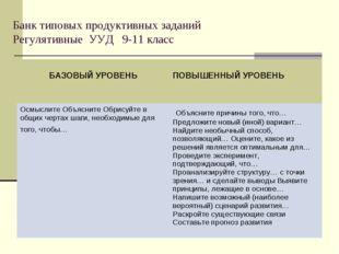 Банк типовых продуктивных заданий Регулятивные УУД 9-11 класс БАЗОВЫЙ УРОВЕНЬ