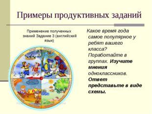 Примеры продуктивных заданий Применение полученных знаний Задание 3 (английск