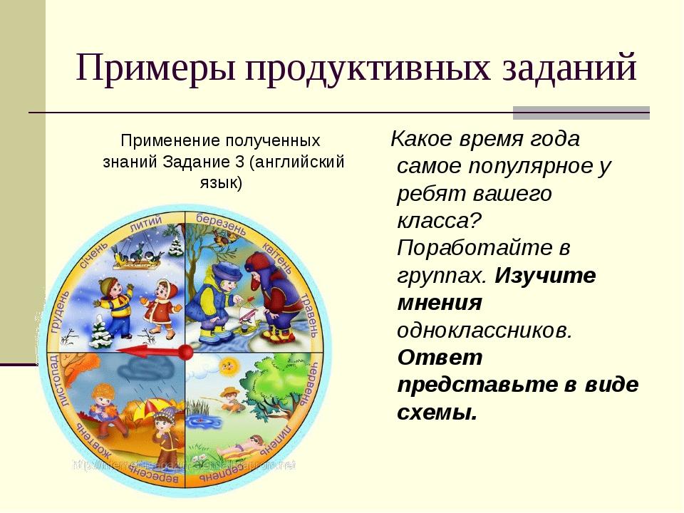 Примеры продуктивных заданий Применение полученных знаний Задание 3 (английск...