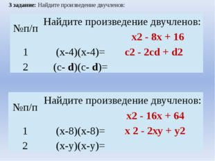 3 задание: Найдите произведение двучленов: х2 - 8х + 16 с2 - 2сd + d2 х2 - 16