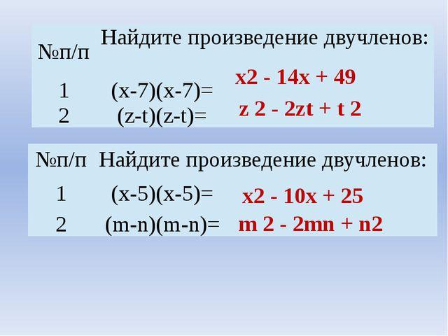 х2 - 14х + 49 z 2 - 2zt + t 2 х2 - 10х + 25 m 2 - 2mn + n2 №п/п Найдите произ...