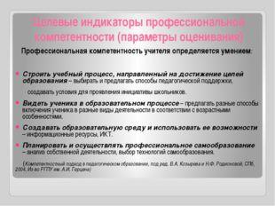 Целевые индикаторы профессиональной компетентности (параметры оценивания) Про
