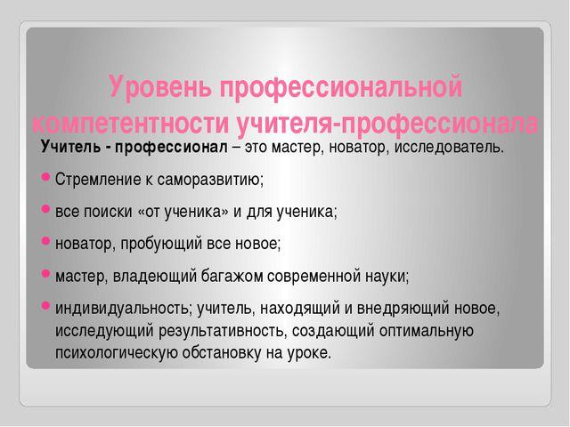 Уровень профессиональной компетентности учителя-профессионала Учитель - профе...