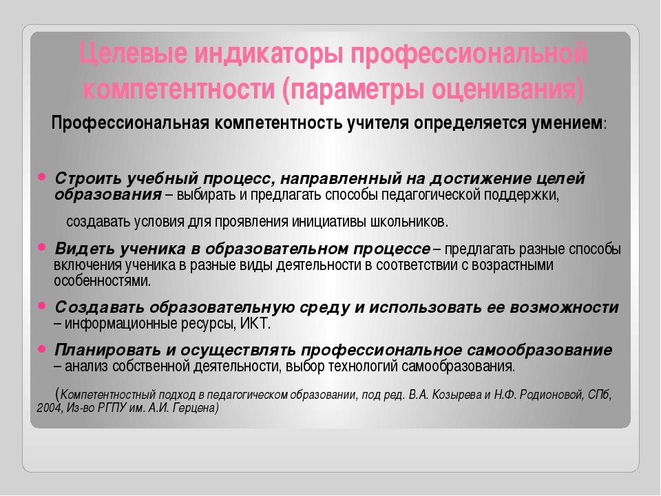 Целевые индикаторы профессиональной компетентности (параметры оценивания) Про...