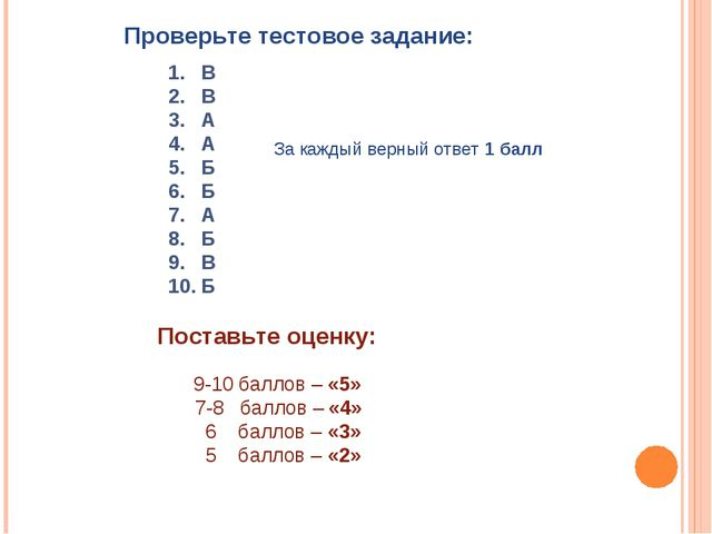 Проверьте тестовое задание: 1. В 2. В 3. А 4. А 5. Б 6. Б 7. А 8. Б 9. В 10....