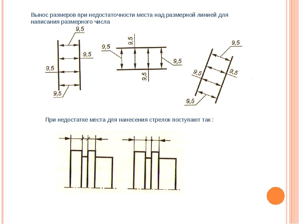 Вынос размеров при недостаточности места над размерной линией для написания р...