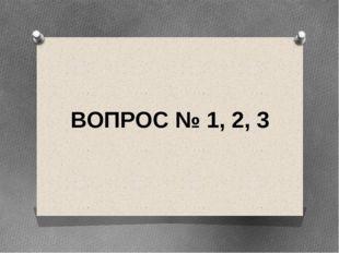 ВОПРОС № 1, 2, 3