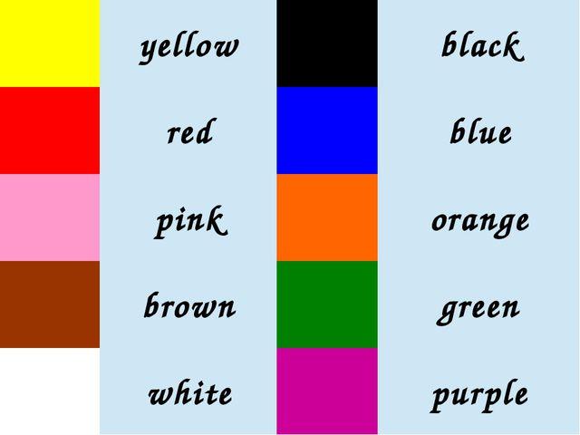 yellow black red blue pink orange brown green white purple