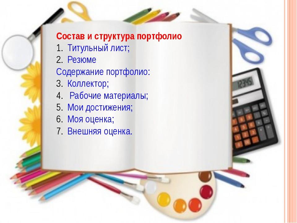 Состав и структура портфолио Титульный лист; Резюме Содержание портфолио: Кол...