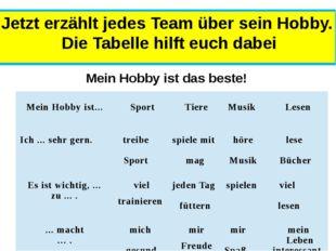 Jetzt erzählt jedes Team über sein Hobby. Die Tabelle hilft euch dabei Mein H