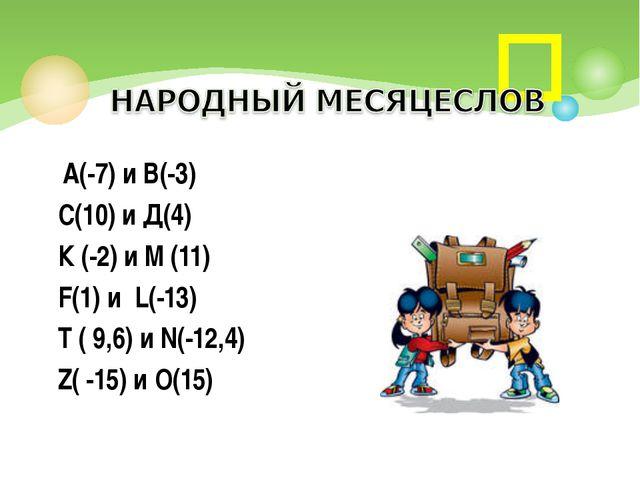 А(-7) и В(-3) С(10) и Д(4) К (-2) и М (11) F(1) и L(-13) T ( 9,6) и N(-12,4)...