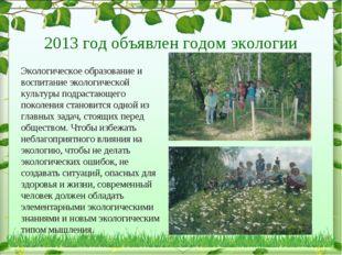 2013 год объявлен годом экологии Экологическое образование и воспитание экол